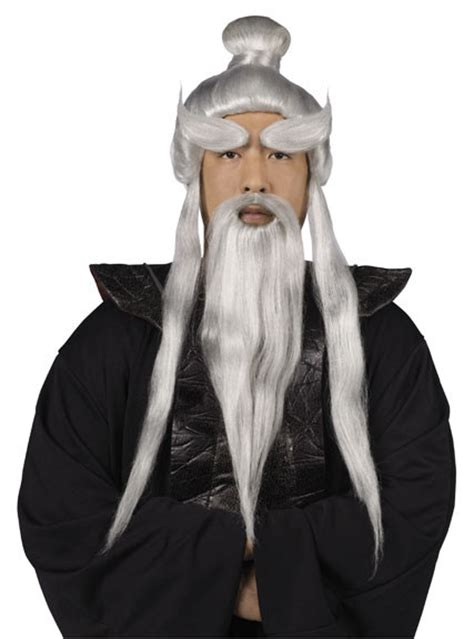 sensei japaner peruecken set silber grau guenstige