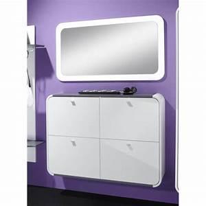 Meuble Laqué Gris : meuble chaussures design 4 portes laqu blanc gris kamok ~ Dode.kayakingforconservation.com Idées de Décoration