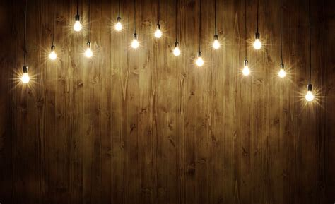 10x10 Wood Background With Lightbulbs