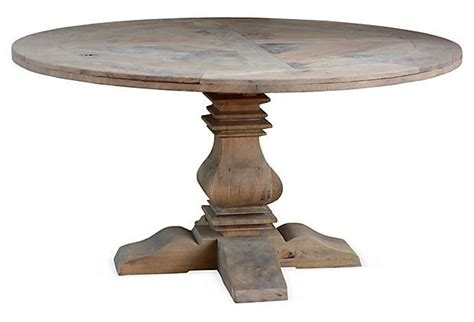 driftwood round dining table one kings lane style steals reclaimed round dining