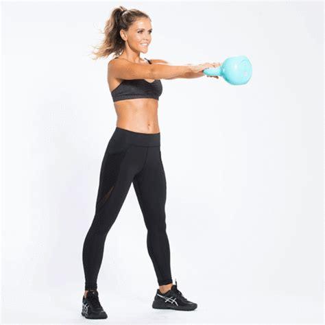 booty butt legs kettlebell workout katrina shape perfect tone moves exercises thighs fitness swings core heart apart feet slide hand