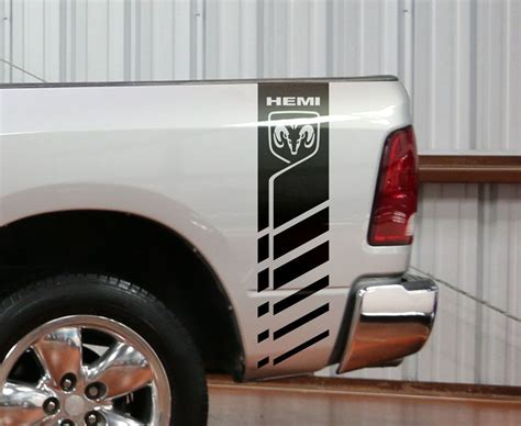 dodge ram    hemi  decal truck bed stripe