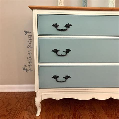 Scalloped Dresser in Antique White & Persian Blue