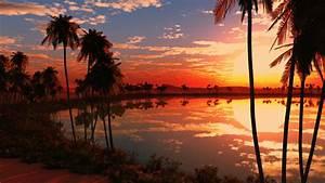 Beautiful Lake Sunset Sky Full HD Wallpapers