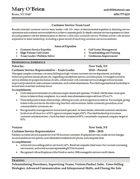 Customer Service Skills On Resume by Customer Service Skills Resume Team Lead