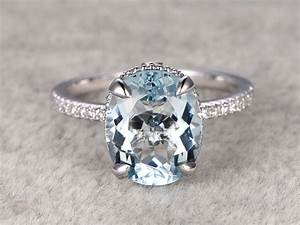 11x9mm oval aquamarine engagement ring unique engagement for Wedding rings aquamarine