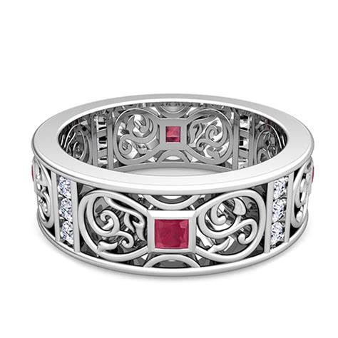 princess cut celtic ruby wedding band ring for in 14k gold