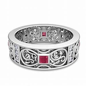 princess cut celtic ruby wedding band ring for men in 14k gold With mens ruby wedding rings