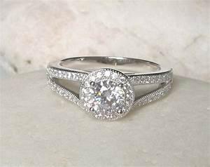 075 Carat Unique Deco Engagement Ring Simple Ring Halo