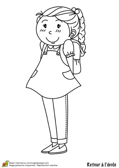 coloriage retour ecole fille sur hugolescargot