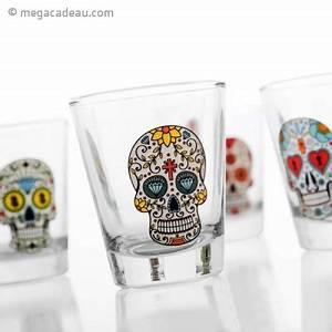 Coffret Verre Tete De Mort : 4 verres shooter t tes de mort mexicaines ~ Teatrodelosmanantiales.com Idées de Décoration