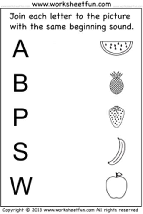 beginning sound  worksheets  printable