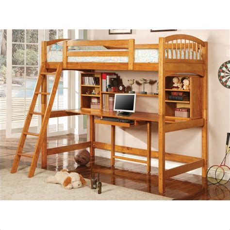wood loft bunk bed with workstation in finish