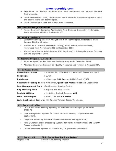 sle resume for manual testing fresher