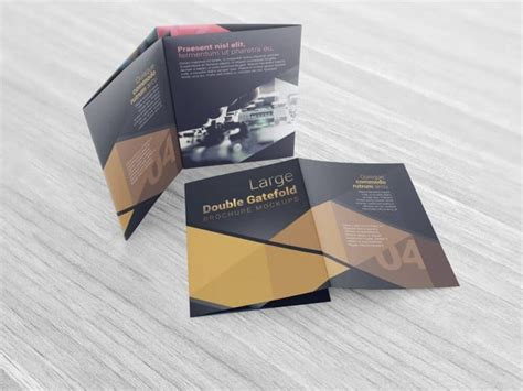 large double gate fold brochure mockups  vectogravic