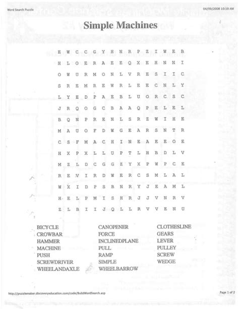 simple machines word search worksheet simple machines word search lovetoteach org