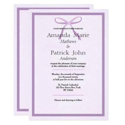 modern lavender lilac bow simple wedding card wedding
