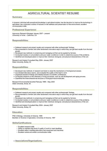 agricultural scientist resume great sample resume