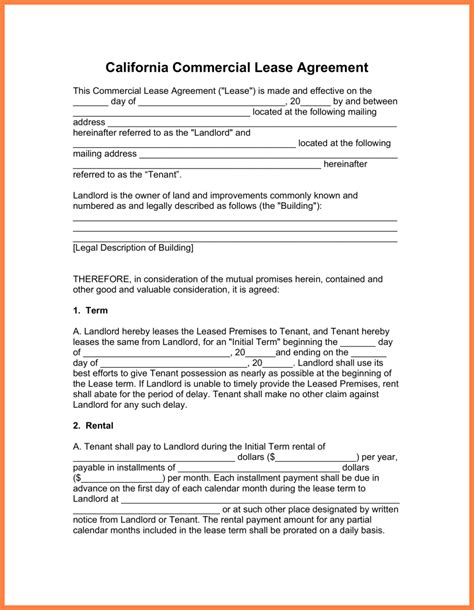 standard commercial lease agreement template purchase