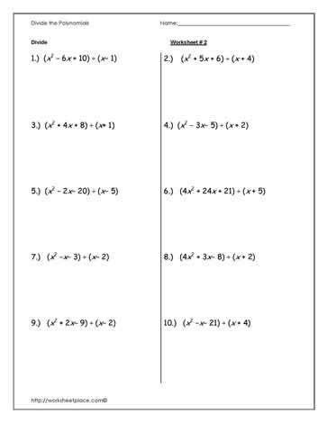 divide polynomials worksheet 2 algebra