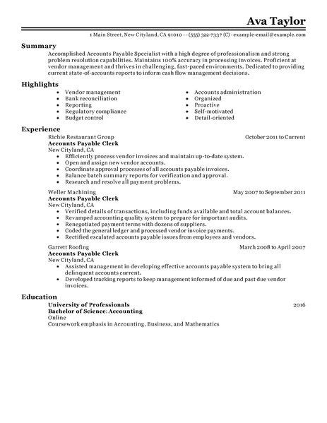 Accounts Payables Resume Template by Accounts Payable Specialist Resume Exles Accounting