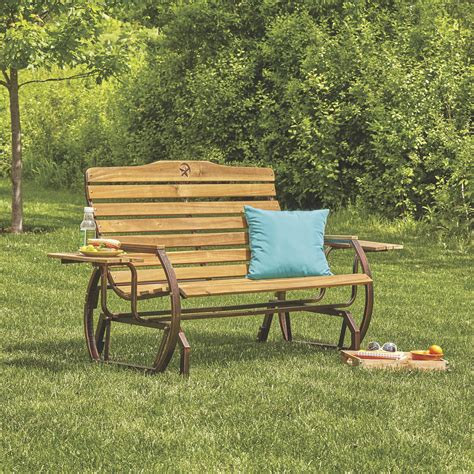 outdoor glider bench wooden outdoor glider bench with 2 trays www kotulas