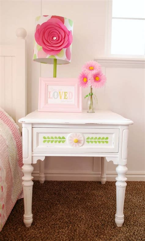 stenciled nightstand  vintage decor paint