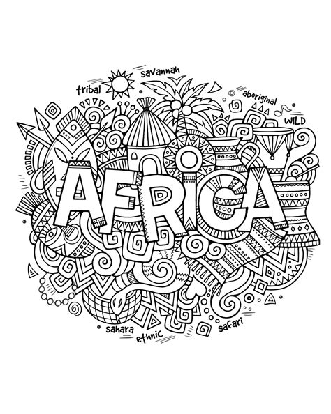africa abstract symbols africa adult coloring pages