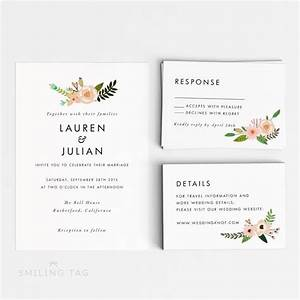printable wedding invitation set romantic floral wedding With wedding invitations sample pdf