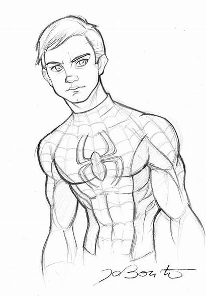 Spiderman Parker Drawing Peter Deviantart Coloring Pages