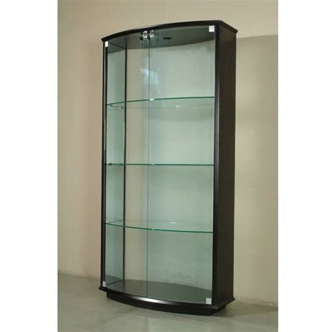 Curved Glass Curio Cabinet By Chintaly walnut finish curved glass curio prime classic design