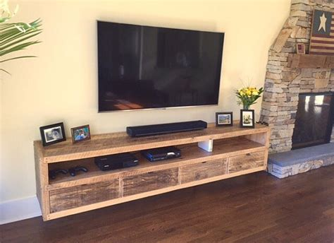 diy floating tv stand floating notched leg media console tv stand