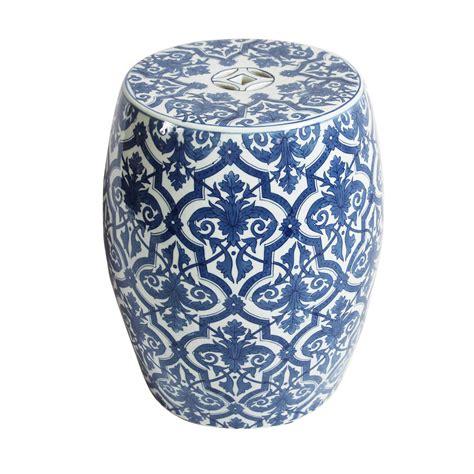 blue and white garden stool blue white ceramic garden stool chairish