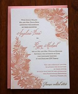 watercolor letterpress wedding invitation lds With lds photo wedding invitations