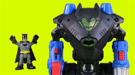 imaginext robo batcave playset with batman batbot superman and green lantern robot