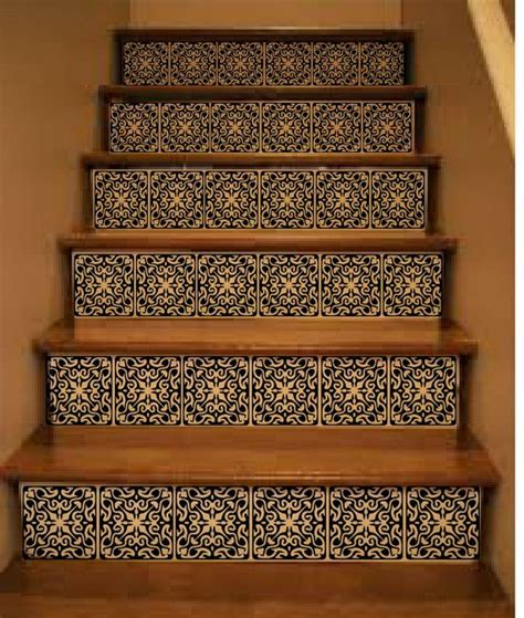 ornate vinyl tile decals  carpeted stairs decals