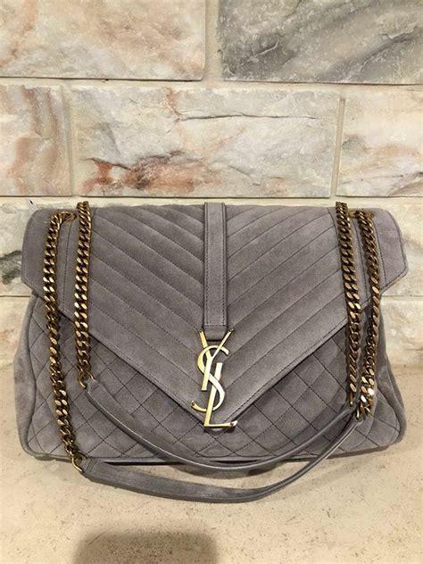 saint laurent monogram kate ysl large quilted college chevron grey suede leather shoulder bag