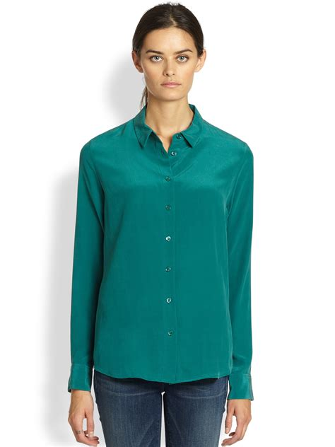 equipment silk blouse equipment washed silk blouse in green lyst