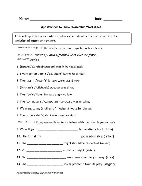 Apostrophes To Show Ownership Worksheet  Englishlinxcom Board Pinterest