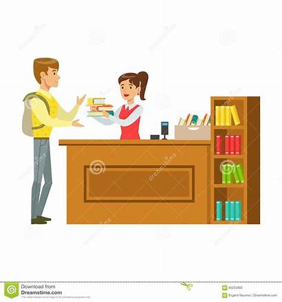 Librarian Vector Cartoon Illustrations Library Drawing Books