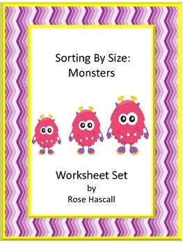 sorting  size monster cut  paste kindergarten math