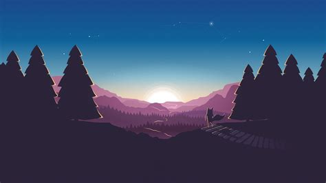 wallpaper sunset fox minimal illustration  creative