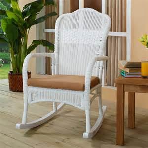 coral coast white resin wicker rocking chair with khaki