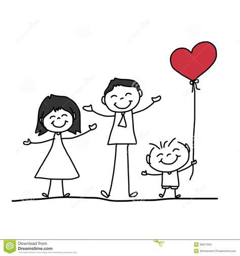 hand drawing cartoon happy family stock  image