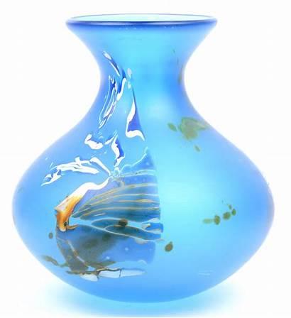Glaspasta Handgeschilderd Gedateerd Gesatineerd Vaas Onderaan Blauw