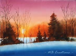 Watercolor Sunset Paintings