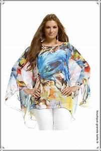 blouse multicolore voile transparent manche chauve souris With vêtements pour femmes fortes