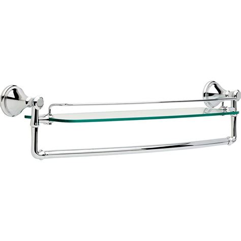delta cassidy 24 in glass bathroom shelf with towel bar in chrome 79711 the home depot