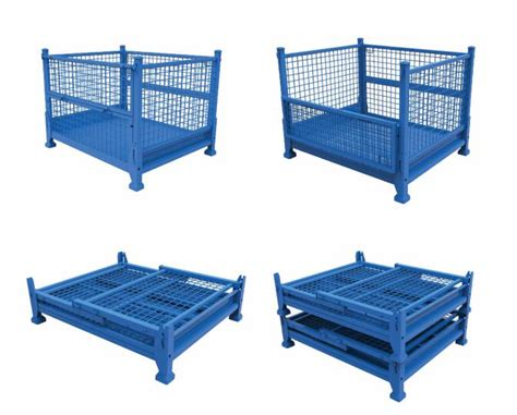 collapsible stackable steel pallet container warehouse cage box stillage