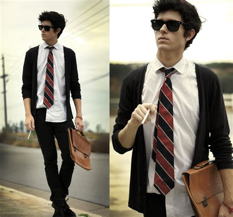 Adam Gallagher - Ray Ban Glasses Thrifted Tie Friend!/Thrifted Briefcase - The dropout | LOOKBOOK